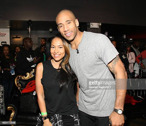 Player Dahntay Jones and wife Valeisha Jones attend BET Networks Celebrity Bowling Event Inside on February 14 2015 in New York City