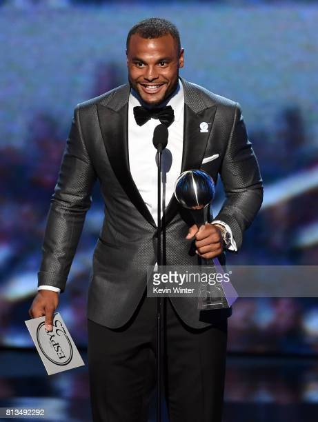NFL player Dak Prescott accepts Best Breakthrough Athlete onstage at The 2017 ESPYS at Microsoft Theater on July 12 2017 in Los Angeles California