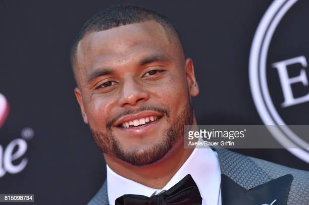 NFL player Dak Prescott arrives at the 2017 ESPYS at Microsoft Theater on July 12 2017 in Los Angeles California
