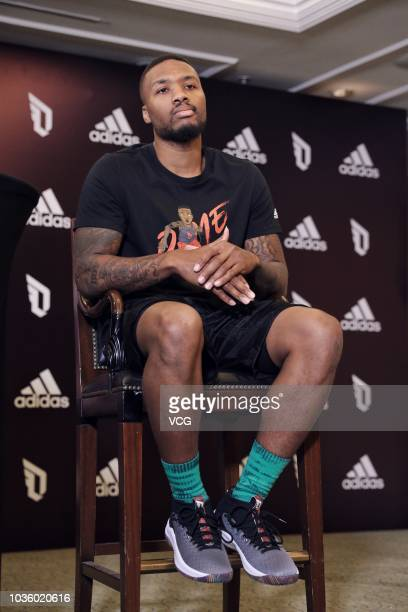 NBA player Damian Lillard of the Portland Trail Blazers attends an Adidas press conference during his China tour on September 11 2018 in Beijing China