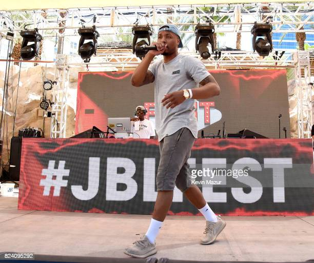 NBA player Damian Lillard performs at JBL Poolside one of the many events a part of JBL Fest an exclusive threeday music experience hosted by JBL at...