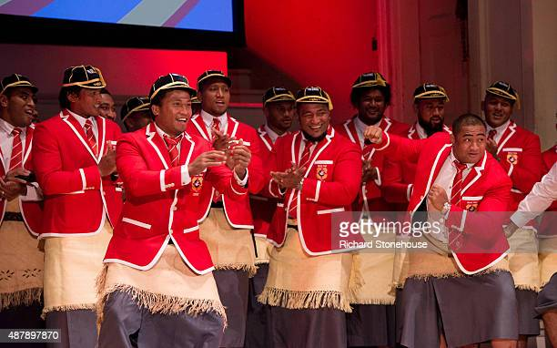 Player dance and sing Sisu Koe Captain Hymn at RWC 2015 Welcome Ceremony Tonga at Cheltenham Town Hall on September 12 2015 in Cheltenham England