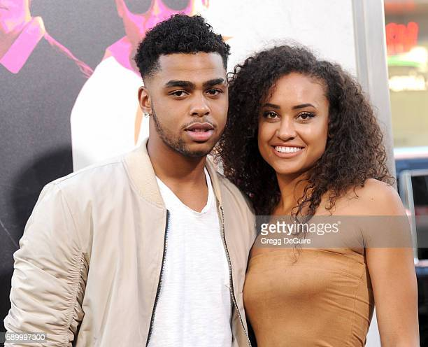NBA player D'Angelo Russell and guest arrive at the premiere of Warner Bros Pictures' 'War Dogs' at TCL Chinese Theatre on August 15 2016 in...