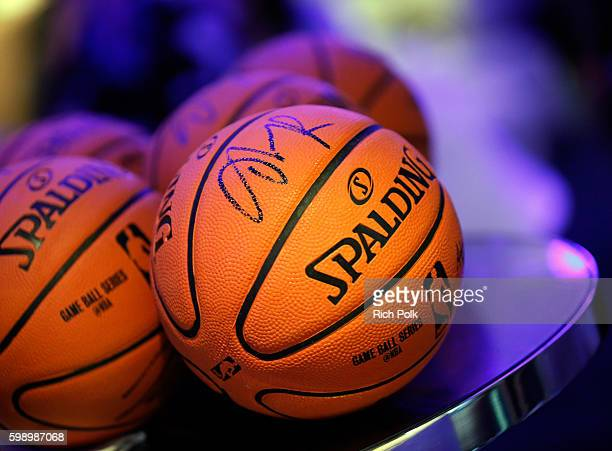 NBA player D'Angelo Russell signed miniature basketballs at The Ultimate Fan Experience Call Of Duty XP 2016 presented by Activision at The Forum on...