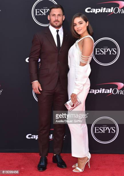 NFL player Danny Amendola and actress Olivia Culpo arrive at the 2017 ESPYS at Microsoft Theater on July 12 2017 in Los Angeles California