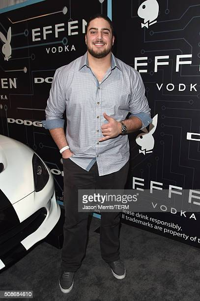 NFL player David Bakhtiari arrives at The Playboy Party during Super Bowl Weekend which celebrated the future of Playboy and its newly redesigned...