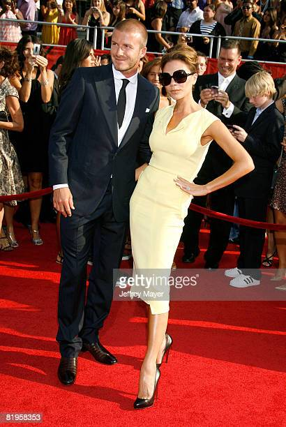 MLS player David Beckham and wife Victoria Beckham arrive at the 2008 ESPY Awards held at NOKIA Theatre LA LIVE on July 16 2008 in Los Angeles...