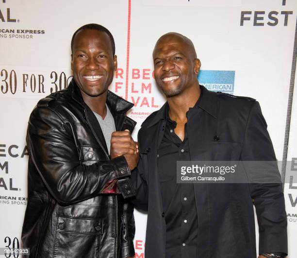 NFL player David Garrard and actor Terry Crews attend the Straight Outta LA premiere at Tribeca Performing Arts Center on April 23 2010 in New York...