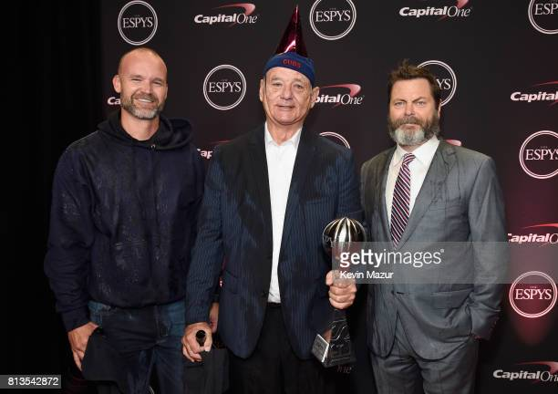 MLB player David Ross actors Bill Murray and Nick Offerman pose with the Best Moment award on behalf of the 2016 World Series champion Chicago Cubs...