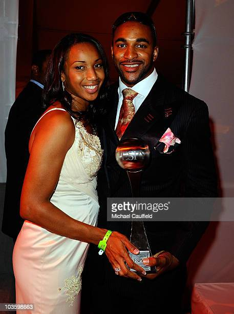 NFL player David Tyree and wife Leilah Tyree attend the after party for the 2008 ESPY Awards on July 16 2008 in Los Angeles California