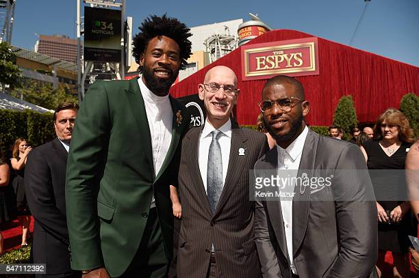 Player DeAndre Jordan, commissioner of the NBA Adam Silver and NBA player Chris Paul attend the 2016 ESPYS at Microsoft Theater on July 13, 2016 in...
