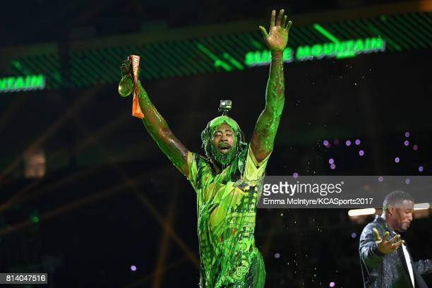 NBA player DeAndre Jordan reacts after getting slimed during Nickelodeon Kids' Choice Sports Awards 2017 at Pauley Pavilion on July 13 2017 in Los...