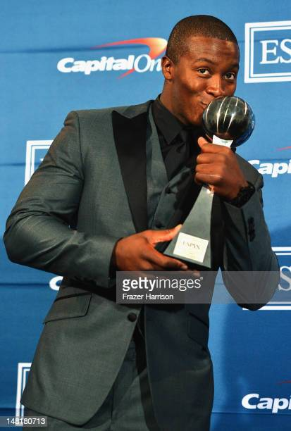 NFL player Demaryius Thomas accepts award for Best Moment poses in the press room during the 2012 ESPY Awards at Nokia Theatre LA Live on July 11...