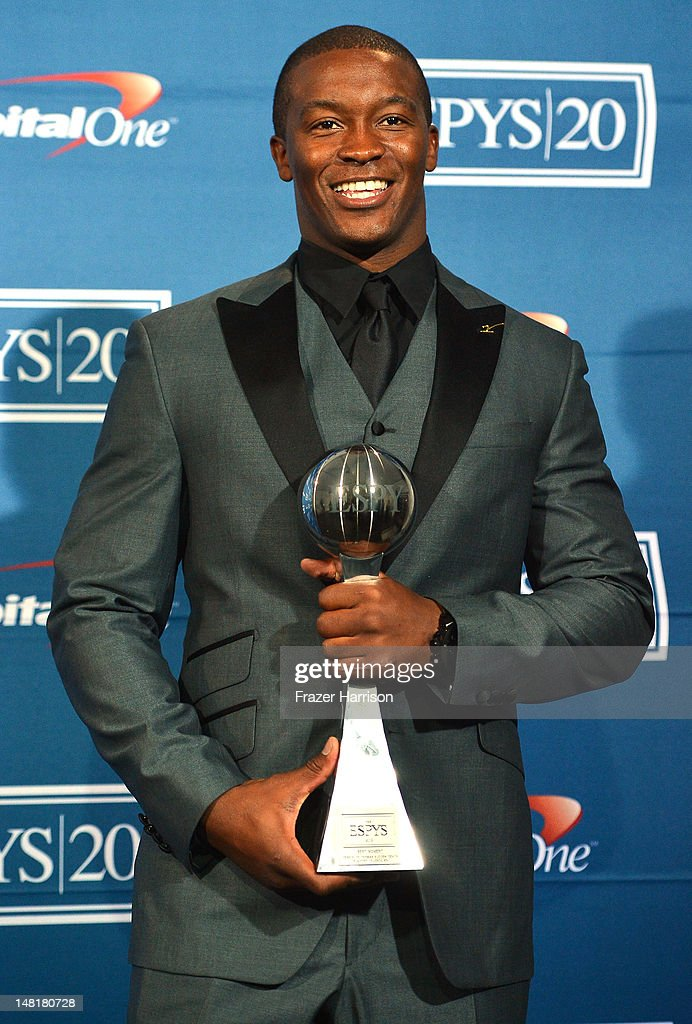 NFL player Demaryius Thomas accepts award for Best Moment poses in the press room during the 2012 ESPY Awards at Nokia Theatre L.A. Live on July 11, 2012 in Los Angeles, California.