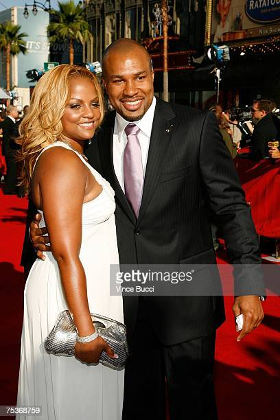 NBA player Derek Fisher and wife Candace Fisher arrive at the 2007 ESPY Awards at the Kodak Theatre on July 11 2007 in Hollywood California