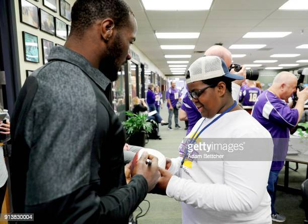 NFL player Derrick Coleman Jr and guest attends the 2018 Big Game Weekend Hearing Mission With Starkey Hearing Technologies on February 3 2018 in...