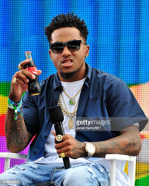 NFL player DeSean Jackson speaks onstage at 106 Park presented by Coke during the 2015 BET Experience at Nokia Plaza on June 27 2015 in Los Angeles...