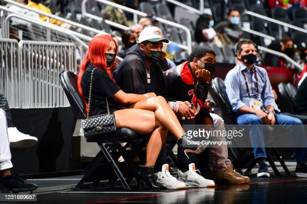 Player, Deshaun Watson attends a game between the Sacramento Kings and Atlanta Hawks on March 13, 2021 at State Farm Arena in Atlanta, Georgia. NOTE...