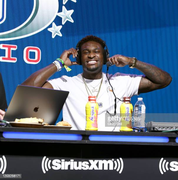 NFL player DK Metcalf of the Seattle Seahawks speaks onstage during day 3 of SiriusXM at Super Bowl LIV on January 31 2020 in Miami Florida