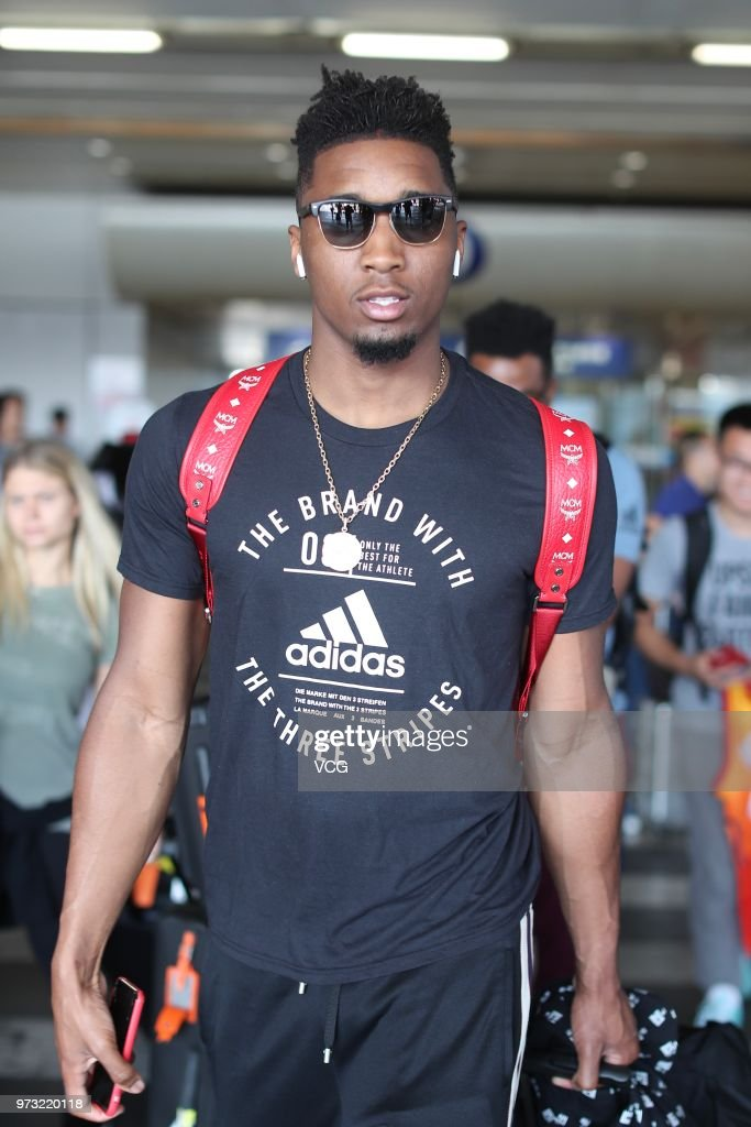 NBA player Donovan Mitchell of the Utah Jazz arrives at airport on June 13, 2018 in Beijing, China.