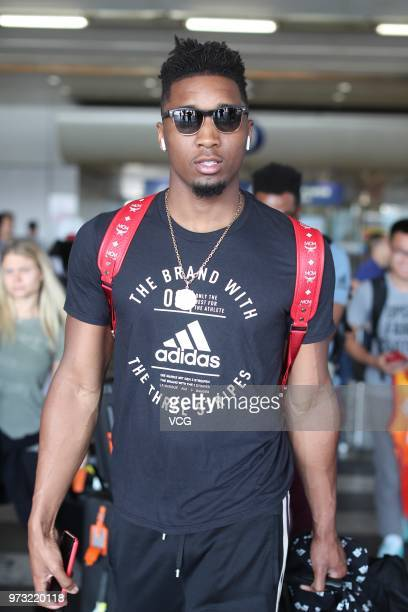 NBA player Donovan Mitchell of the Utah Jazz arrives at airport on June 13 2018 in Beijing China