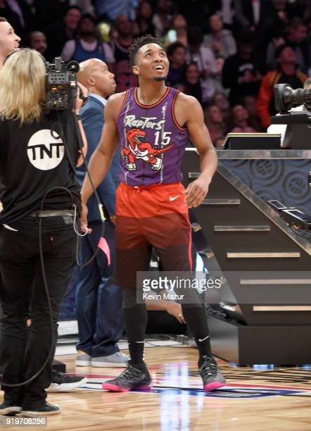 NBA player Donovan Mitchell of the Utah Jazz competes during the 2018 State Farm AllStar Saturday Night at Staples Center on February 17 2018 in Los...