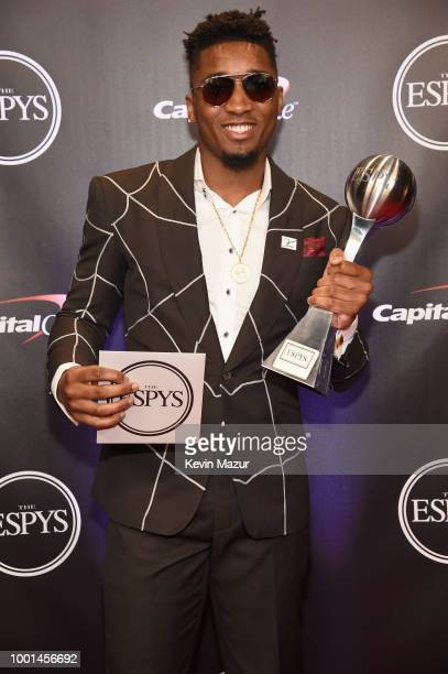 NBA player Donovan Mitchell poses with his Breakthrough Athlete award at The 2018 ESPYS at Microsoft Theater on July 18 2018 in Los Angeles California