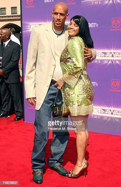 NBA player Doug Christie and wife Jackie arrive at the 2007 BET Awards held at the Shrine Auditorium on June 26 2007 in Los Angeles California
