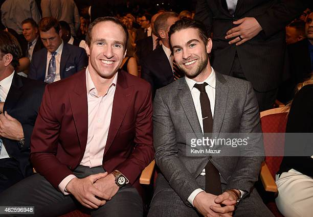 NFL player Drew Brees and actor Chace Crawford attend the 4th Annual NFL Honors at Phoenix Convention Center on January 31 2015 in Phoenix Arizona