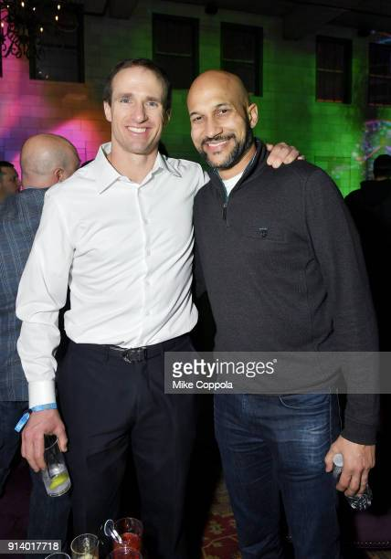 NFL player Drew Brees and actor KeeganMichael Key attend the 2018 DIRECTV NOW Super Saturday Night Concert at NOMADIC LIVE at The Armory on February...