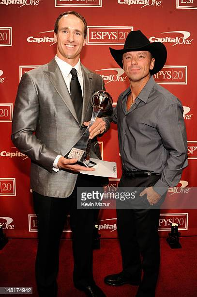 NFL player Drew Brees of the New Orleans Saints and singer Kenny Chesney attend the 2012 ESPY Awards at Nokia Theatre LA Live on July 11 2012 in Los...