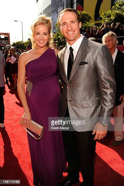 Player Drew Brees of the New Orleans Saints and wife Brittany Brees arrive at the 2012 ESPY Awards at Nokia Theatre L.A. Live on July 11, 2012 in Los...