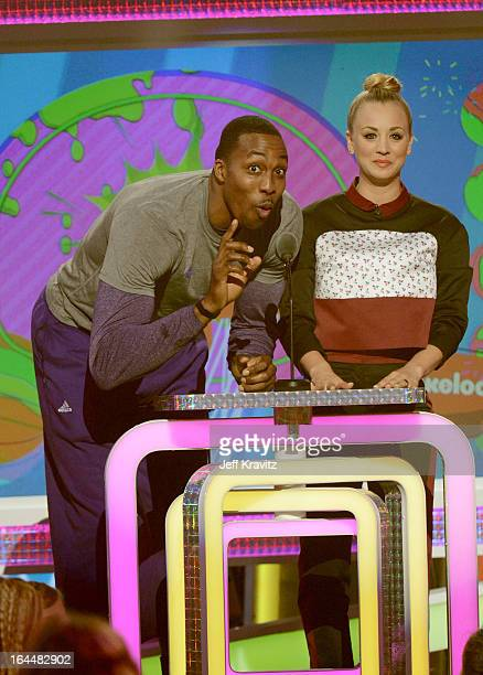 NBA player Dwight Howard and actress Kaley Cuoco speak onstage at Nickelodeon's 26th Annual Kids' Choice Awards at USC Galen Center on March 23 2013...