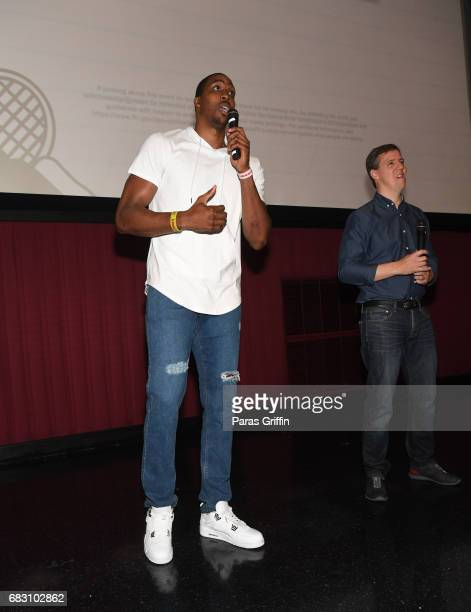 """Player Dwight Howard and author Jeff Kinney speak onstage at """"Diary Of A Wimpy Kid: The Long Haul"""" Atlanta screening hosted by Dwight Howard at Regal..."""