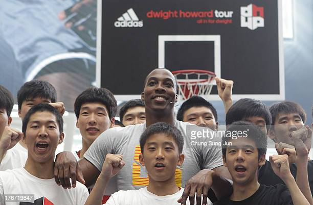 NBA player Dwight Howard of the Houston Rocket attends the the One Point Clinic Session during a promotional tour of South Korea at Time Square on...