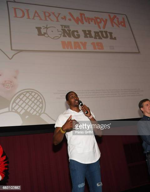 """Player Dwight Howard speaks onstage at """"Diary Of A Wimpy Kid: The Long Haul"""" Atlanta screening hosted by Dwight Howard at Regal Atlantic Station on..."""