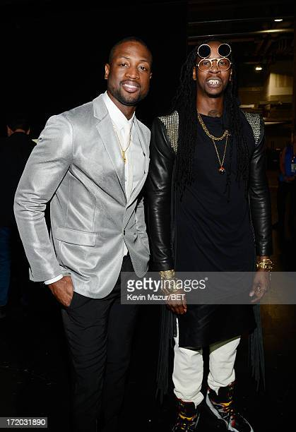 NBA player Dwyane Wade and recording artist 2 Chainz pose backstage during the 2013 BET Awards at Nokia Theatre LA Live on June 30 2013 in Los...