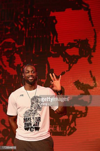 Player Dwyane Wade attends a promotion event of Chinese sports brand Li Ning on July 3 2013 in Beijing China
