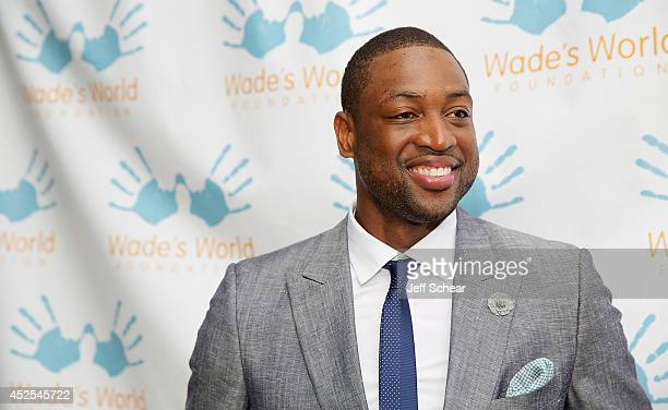 NBA player Dwyane Wade attends the Wade's World Foundation Dinner Hosted By Dwyane Wade at Chicago Cut Steakhouse on July 22 2014 in Chicago Illinois