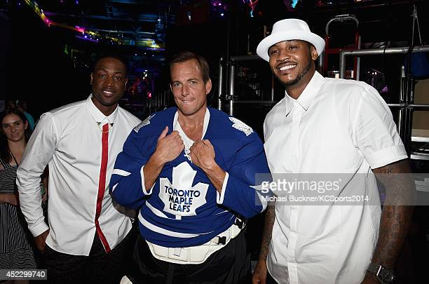 NBA player Dwyane Wade with Actor Will Arnett and NBA player Carmelo Anthony attends Nickelodeon Kids' Choice Sports Awards 2014 at UCLA's Pauley...