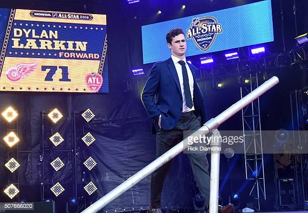 NHL player Dylan Larkin attends the 2016 NHL AllStar Red Carpet at Bridgestone Arena on January 30 2016 in Nashville Tennessee