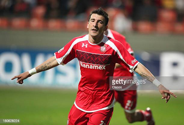 Player Edgar Benitez of Toluca celebrates a goal during a match between Toluca and Irapuato as part of the Copa MX 2012 at Estadio Nemesio Diez on...