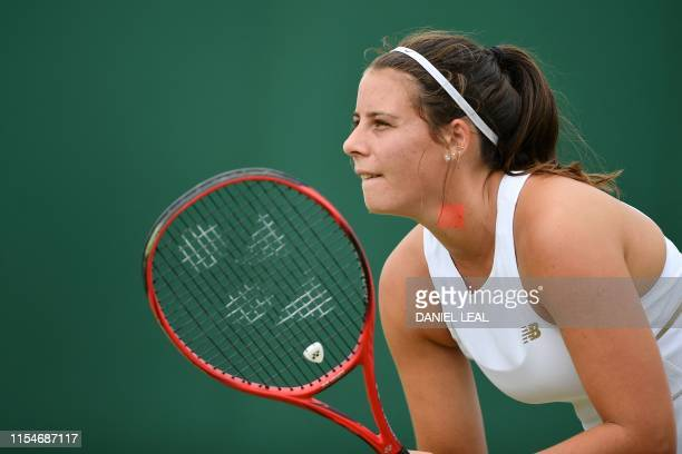 US player Emma Navarro prepare to receive serve from France's Selena Janicijevic during their girl's singles second round match on day eight of the...