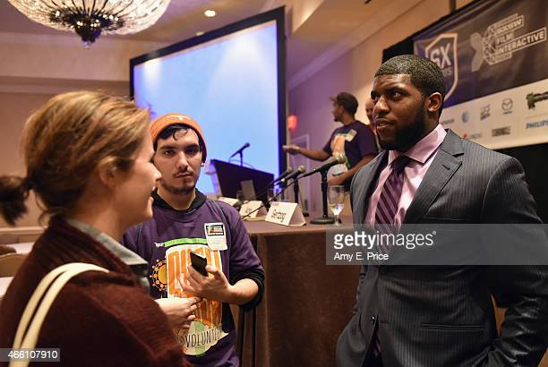 NFL player Emmanuel Acho attends 'Problem Solvers Compensating College Athletes for Their Likeness' during the 2015 SXSW Music Film Interactive...