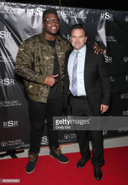 NFL player Emmanuel Ogbah and host Drew Rosenhaus arrive at the Thuzio Executive Club and Rosenhaus Sports Representation Party at Clutch Bar during...