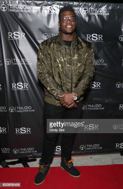 NFL player Emmanuel Ogbah arrives at the Thuzio Executive Club and Rosenhaus Sports Representation Party at Clutch Bar during Super Bowl Weekend on...