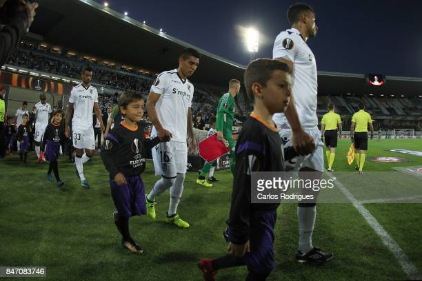 Player entering the pitch during the match between Vitoria Guimaraes and RB Salzburg for UEFA Europa League at Estadio da Dom Afonso Henriques on...