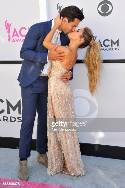 Player Eric Decker and Jessie James Decker arrive at the 52nd Academy Of Country Music Awards on April 2 2017 in Las Vegas Nevada