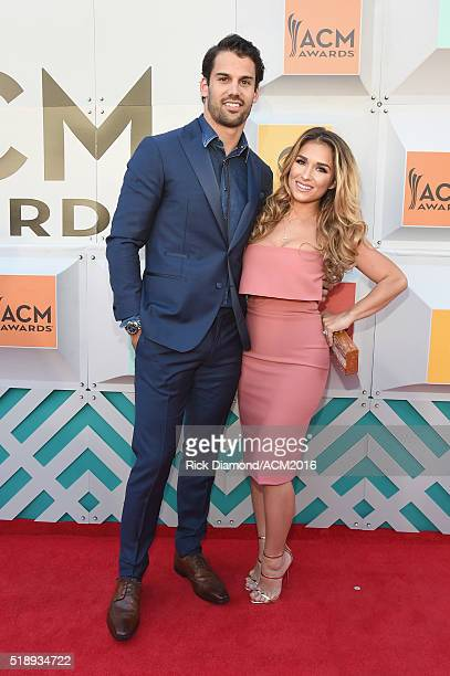 NFL player Eric Decker and recording artist Jessie James attend the 51st Academy of Country Music Awards at MGM Grand Garden Arena on April 3 2016 in...