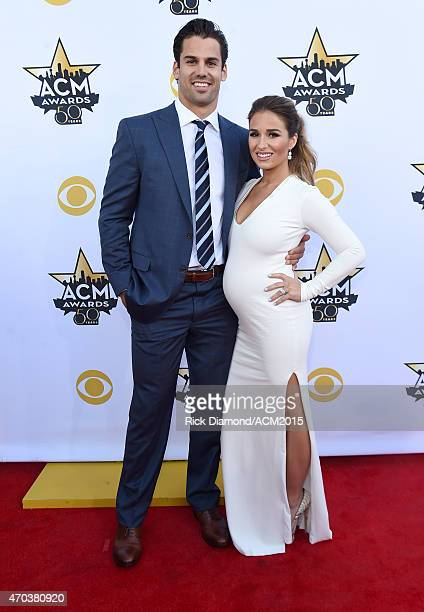 NFL player Eric Decker and recording artist Jessie James Decker attend the 50th Academy of Country Music Awards at ATT Stadium on April 19 2015 in...